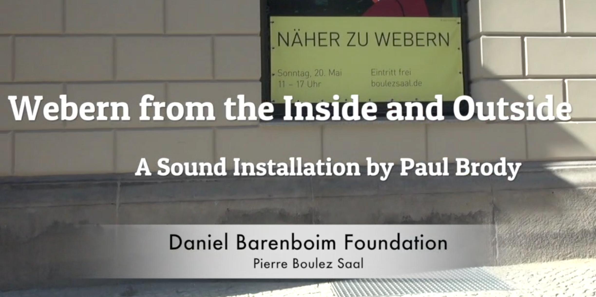 Daniel Barenboim Foundation: Pierre Boulez Saal Sound Installation